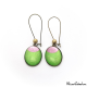 Dangle earrings - Pink Moon on Green