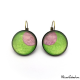 Round earrings - Pink Moon on Green