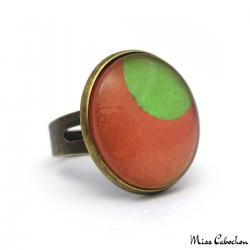 Fashion ring - Green Moon on Orange