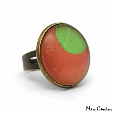 Fashion ring - Green Moon on Orange