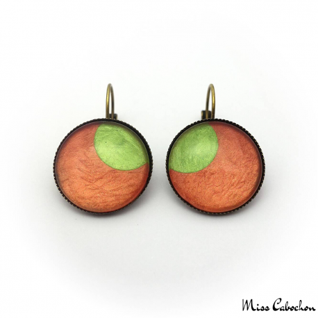 Round earrings - Green Moon on Orange