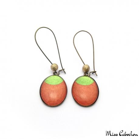 Boucles d'oreille ovales - Lune Vert