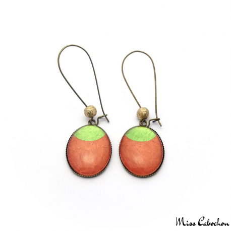 Dangle earrings - Green Moon on Orange