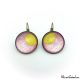 Round earrings - Golden Moon on Pink