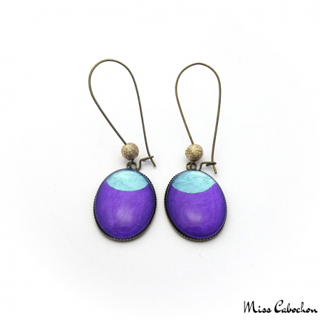 Dangle earrings - Blue Moon on Purple