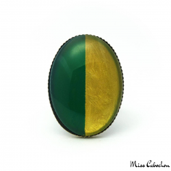 Bague Ovale Bicolore - Or et Vert Olive