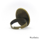 Oval two-tone ring - Green and Golden