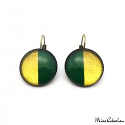 Boucles d'oreille dormeuse bicolores - Or et Vert Olive
