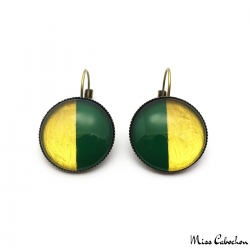 Two-tone round earrings - Green and Golden