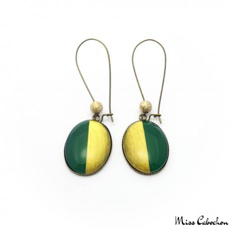 Boucles d'oreille ovales bicolores - Or et Vert Olive