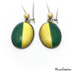 Two-tone Dangle earrings - Green and Golden