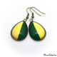 Two-tone teardrop earrings - Green and Golden