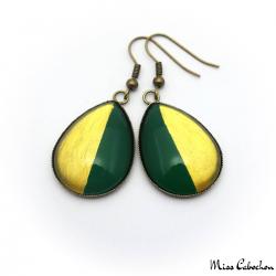 Boucles d'oreille en goutte d'eau bicolores - Or et Vert Olive