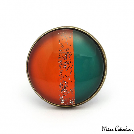 Trendy ring - Green and Orange