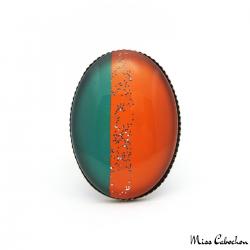 Bague Ovale Tendance - Vert et Orange pailletée