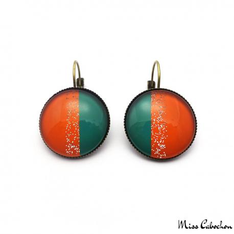 Boucles d'oreille dormeuse Tendance - Vert et Orange pailletée