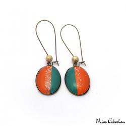 Boucles d'oreille ovales Tendance - Vert et Orange pailletée