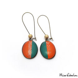 Trendy dangle earrings - Green and Orange