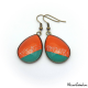 Trendy teardrop earrings - Green and Orange