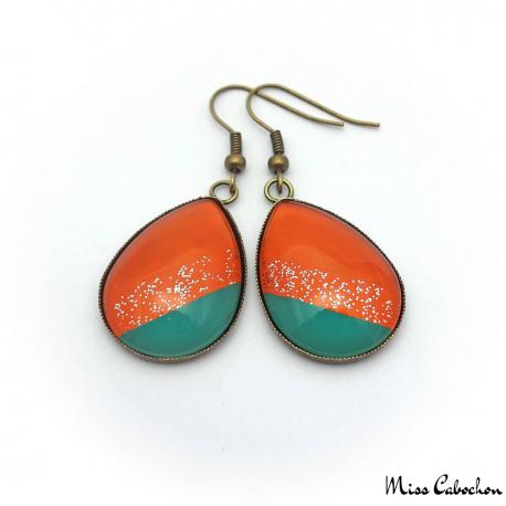 Trendy teardrop earrings - Green and Orange
