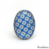Oval Checkerboard Ring - Blue and White