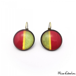 Two-tone earrings with golden border