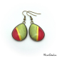 Two-tone teardrop earrings with golden border