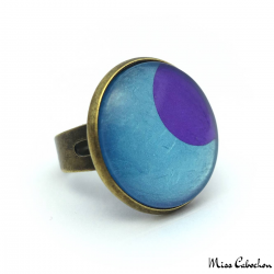 Fashion ring - Purple Moon on Blue