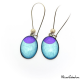 Dangle earrings - Purple Moon on Blue