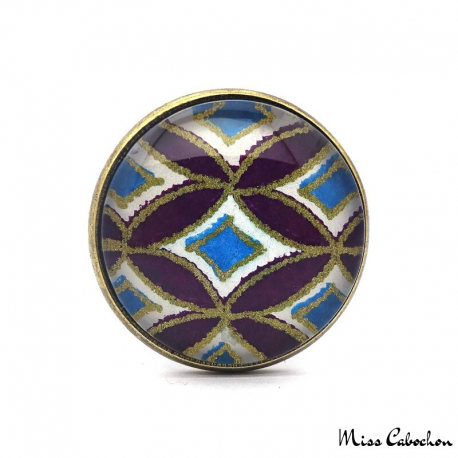 Blue and purple ring with geometric patterns