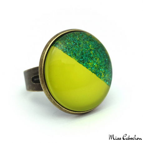 Flashy ring - Yellow and glitter green