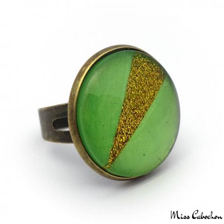 Flashy ring - Green and glitter yellow