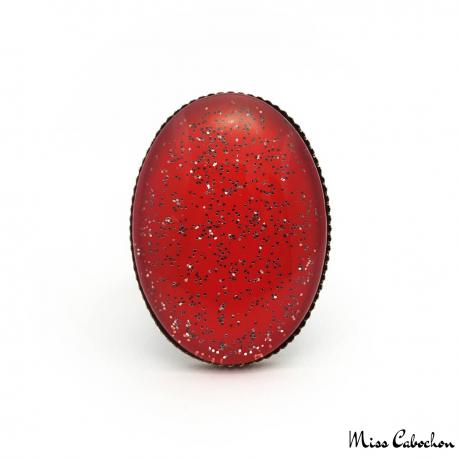 Bague rouge ovale à paillettes