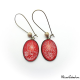 Glitter red dangle earrings