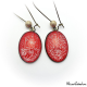 Boucles d'oreille ovales rouges à paillettes