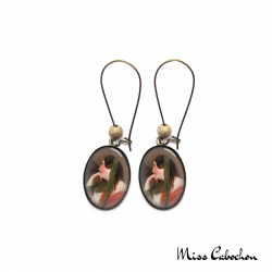"Earrings ""The young woman with a hat"""