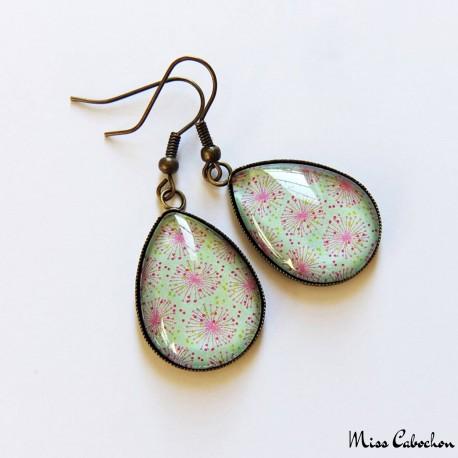 Boucles d'oreille cabochon - Inspiration florale