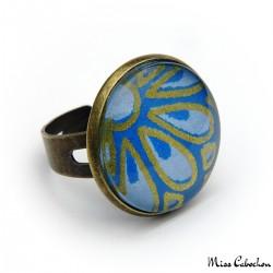 Blue cabochon ring - Japanese inspiration