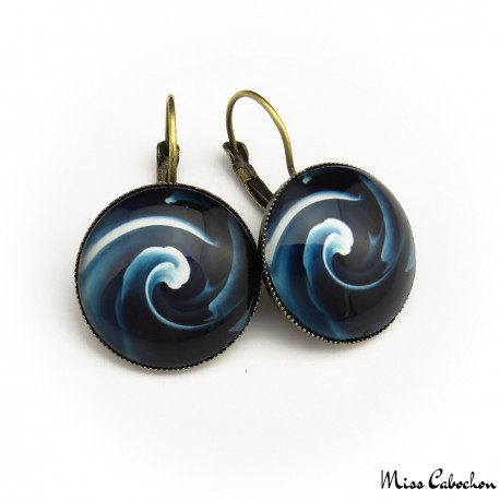 """Blue swirl"" earrings"