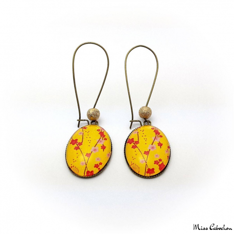 Boucles d'oreille jaunes - Inspiration japonaise