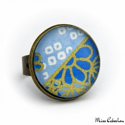 Bague bleue à cabochon - Inspiration japonaise