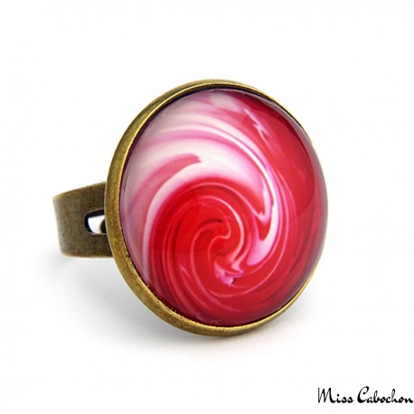 "Modern cabochon ring ""Red cloud"""