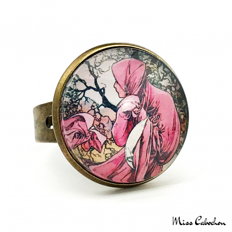 "Early 20th century style ring ""January by Alfons Mucha"""