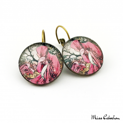 "Early 20th century style earrings ""January by Alfons Mucha"""