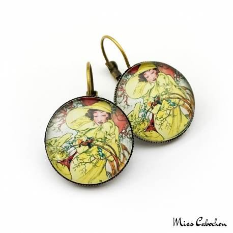 "Roaring Twenties style earrings ""February by Alfons Mucha"""