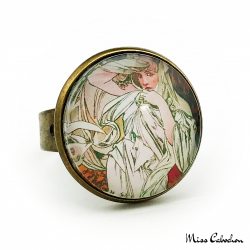 "Antique style ring ""March by Alfons Mucha"""