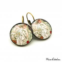 """Boucles d'oreille au style ancien """"Mars par Alfons Mucha"""""""