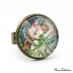 "1920s style ring ""April by Alfons Mucha"""