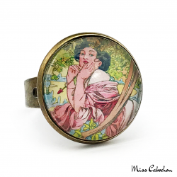 """Bijou au style des années 1920 """"Juillet par Alfons Mucha"""""""