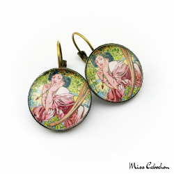 "Art deco style jewelry ""July by Alfons Mucha"""